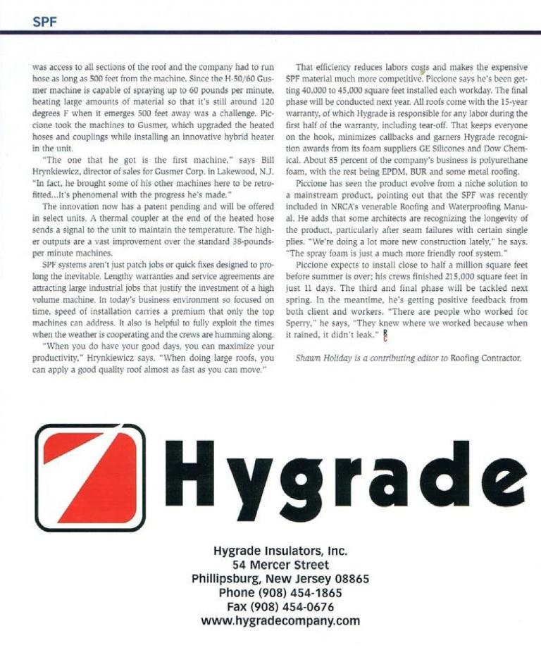 Hygrade Insulators Roofingcontractor Magazine Profile